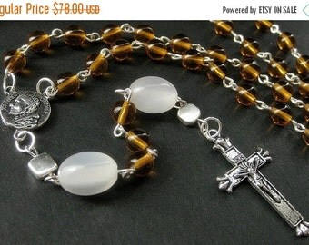 VALENTINE SALE Holy Rosary. Orange Rosary with Silver. Handmade Rosary.