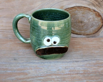 Mustache Mug. 20 Oz Pottery Ceramic Face Mug with Mustache. Frosty Pine Green. Fun Husband Man Gift. Uptight Witty Coffee Cup. Unique Gifts.