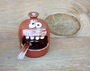 Funny Face Salt Cellar. Stoneware Pottery Salt Keeper. Kitchenware Rustic Red Functional Pottery. Dipper Spoon Included. Uncommon Ug Chug
