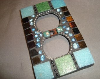MOSAIC Electrical Outlet COVER , Wall Plate, Wall Art, Green, Aqua, Iridescent Black.