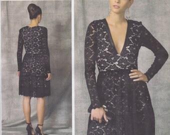 Vogue Pattern V1471 Designer Original Nicola Finetti Lined Dress w/ Deep V-Neckline, Inset Waistband, Tiered Ruffle Skirt Misses'  6 - 14