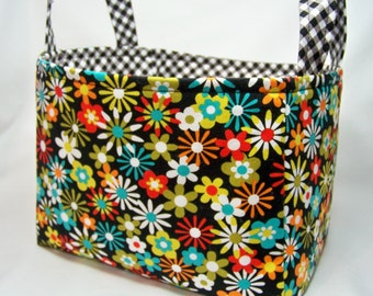 PK Fabric Basket in Flowers A Plenty in Coin - Storage Basket - Diaper Caddy - Ready To Ship - Reversible