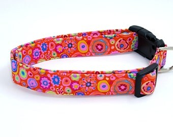 Forever Funky Flowers and Circles on Bright Pink Multi Colored Dog Collar