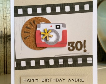 30th Birthday Card . card can be made custom for you . camera . photographer . scrapbook . film . 30 . birthday