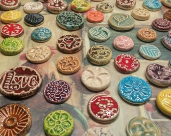 20 CERAMIC mini TILES - Mixed designs - glazed - Great for MOSAICS, magnets, jewelry designs, and more