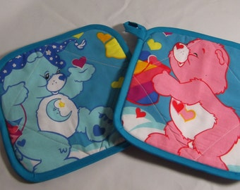 Care Bear Fabric Pot Holders / Hot Pads- Set of 2    American Greetings   Vintage 90s