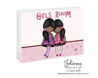 Girls room door sign, Personalized door sign for sisters bedroom, African American Sisters Room, personalized gifts for kids, nursery sign