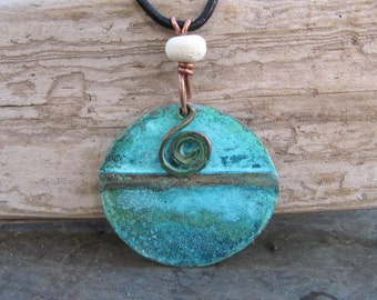 Handcrafted Blue Green Copper Pendant Copper Jewelry Patina Medallion Lampwork Bead