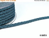 ON SALE Acetino braided silk cord, 6mm, grey / blue, 2 meters