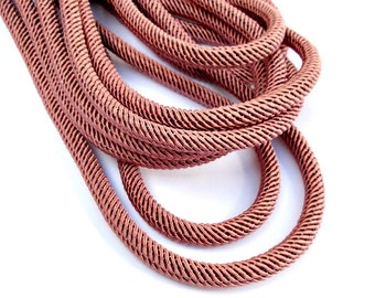 Rib silk cord, 7mm dusty pink cord - 1m
