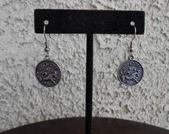 Zodiac Medallion - Capricorn - Earrings