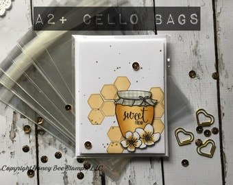 """A2+  100 Crystal Clear Cello Bags, Card & Envelope Size, 4 5/8"""" x 5 3/4"""", Resealable Clear Plastic Sleeves, Acid Free Envelopes for Cards"""