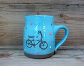 blue kids mug with banana seat bike and polka dots-kids pottery- turquoise mug-8oz mug-kids mug-bike pottery-bicycle mug-small mug-mini mug