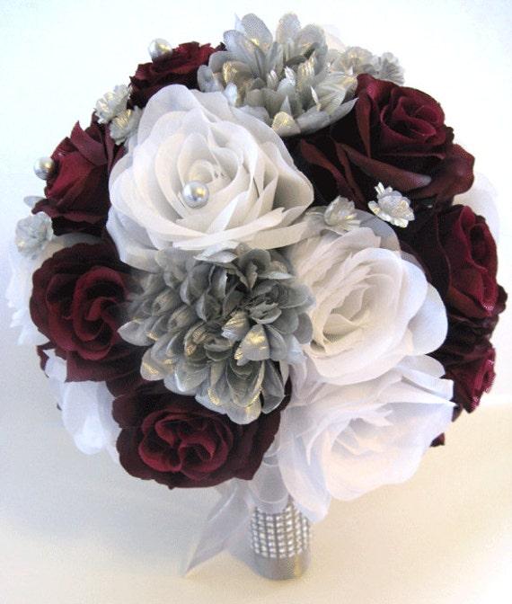 Burgundy Wedding Flower Bouquet: Wedding Silk Flowers Bridal Bouquet BURGUNDY SILVER GRAY 17