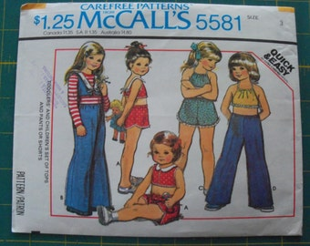 McCall's 5581 Toddlers Set of Tops and Pants or Shorts Size 3 sewing pattern