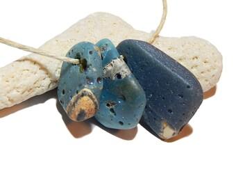 Small Leland Blue Pendants, sliced slag glass, Michigan Jewelry supplies, Lake Michigan