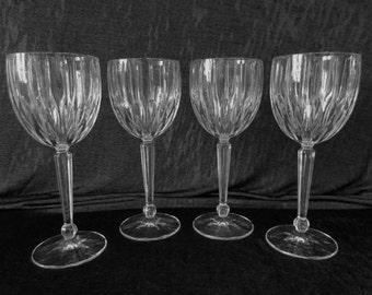 set of 4 vintage lead crystal water