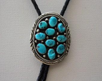 Navajo Silver Bolo Tie Turquoise LaRose Ganadonegro