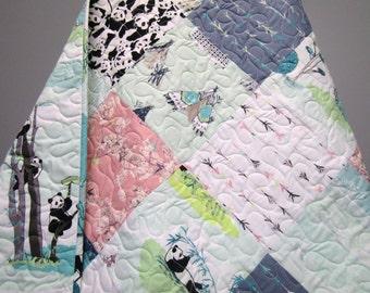 Baby Quilt-Modern Girl Crib Bedding-Panda Bear-Mint-Pink-Navy Blue-Arrows-Teepees-Handmade Patchwork Quilt