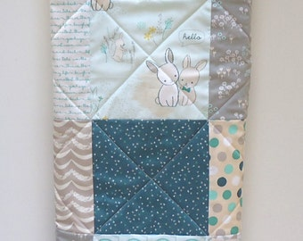 Woodland Baby Quilt-Gender Neutral Quilt-Bunny Rabbit Baby Blanket-Easter Baby-The Littlest Pine Woods-Boy or Girl Quilt-Modern Patchwork