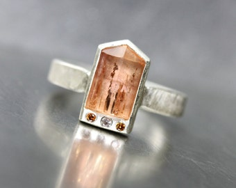 Rough Imperial Topaz Diamond Ring Rustic Primitive Silver Peach Golden Raw Gemstone Brazil Glowing Pale Orange Rust Pink Statement - Ikone
