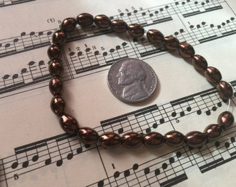 Vintage  beads  metallic copper bronze  oblong  Czech glass faux pearls one strand  27 beads Top quality  Boho Shabby spacer beads