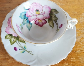 Little Tea Cup and Saucer, Pink Flowers, Shafford Bone China, Japan, Demitasse Tea Cup, Gift For Mom