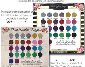 Custom Siser Glitter Chart HTV Chart- Glitter Heat Transfer Vinyl Chart - Use in Your Store for Listings - Vinyl Color Samples