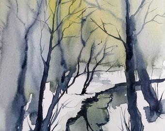 ORIGINAL painting Watercolor painting WATERCOLOR Painting, watercolor landscape, Pinetreeart, WATERCOLOR, landscape original, painting
