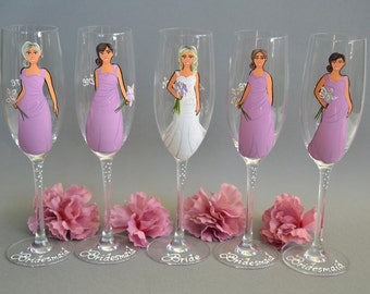 SALE Bridesmaids Gift Wedding Glasses Champagne Glass Personalized Caricatures Hand painted to their Likeness