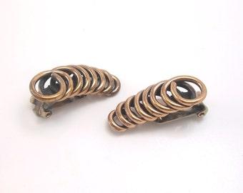 Renoir Copper Coil Earrings, Copper Earrings, Renoir Earrings, Mid Century Modern Earrings