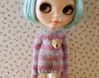 Neo Blythe Striped mohair sweater with long sleeves and bear face