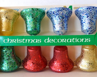 Vintage Christmas Bradford The Unbreakable Kind Ornaments Glitter Bells Box of 8 USA