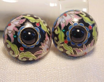 Vintage Cloisonne Earrings Vintage Earrings Vintage Clip Earrings Chinese Earrings Chinese Jewelry
