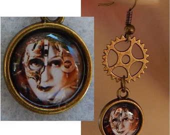 Gold Steampunk Girl Charm Drop/Dangle Earrings Handmade Jewelry Gears Hook NEW