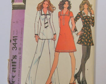 Vintage 1970s Nautical Style Tunic Style Dress and Pants PAttern MCall's 3441