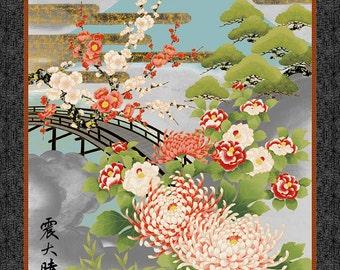 "Mt Fuji Nobu Fujiyama Chrysanthemum Kanji Gray Kona Bay Asian Fabric 24"" Panel"