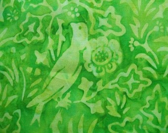 Lime Batik Birds Timeless Treasures Cotton Fabric Yard