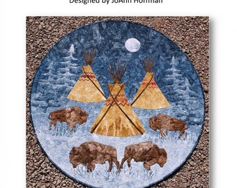 Tatanka Buffalo Teepee Moon JoAnn Hoffman Applique Wall Quilt Pattern
