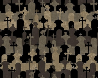 Come Sit A Spell Halloween Graveyard Stripe Wilmington Fabric Yard