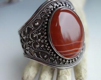 Vintage Sardonyx Sterling Bali Bracelet