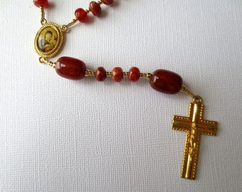 Red Orange Catholic Rosary of Fire Agate and Carnelian with Our Lady of Perpetual Help Center