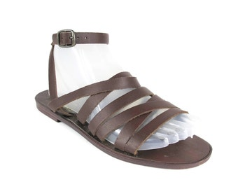 Leather Gladiator Sandals Womens Brown Leather Sandals Vintage Ankle Strap Sandals Multi Strap Hippie Boho Festival Summer Flats Size 7