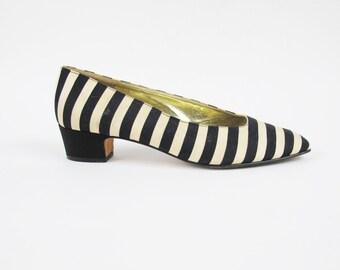 1980s ESCADA Heels Black and White Striped Heel Vintage Designer 80s Pumps Goth Beetlejuice Slip On Low Heel Pumps (Size 9.5) E10072