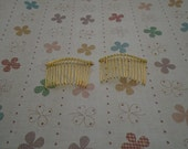 Hair Combs, 20 pcs Nickel Free Yellow Gold Color Plated Finish 15 Teeth Barrette Pin 58x39mm