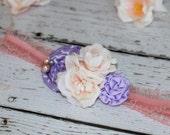 Girls Shabby Chic peachey king Heaband Toddler, Infant, rolled rose purple Flower