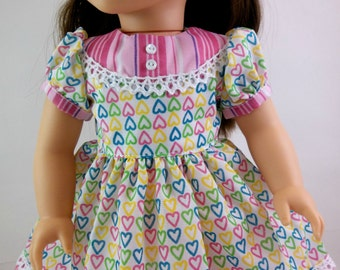 18 inch Doll  Dress Fits American girl Doll Pastel Hearts with Striped Yoke and Border Toys