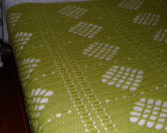 Crochet Afghan (Queen) Blanket - Crochet Blanket - Bedspread - Coverlet - Throw  ''DIAMONDS DESIGN'' in Summer Green