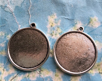 10pcs 28mm tibetan silver round picture/photo frame charms/pendants(both sided fit 25mm cabs)