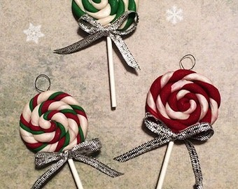 Christmas Tree Ornaments - Swirly Lollipops Candy Theme Decorations / Full-Size